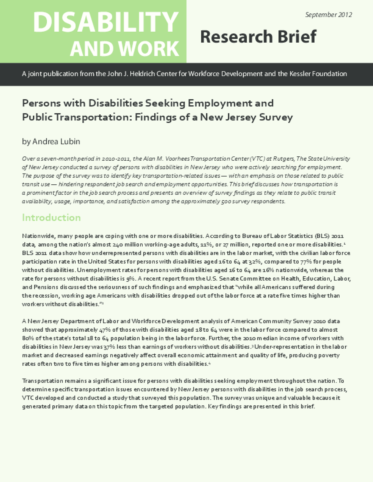 Persons with Disabilities Seeking Employment and Public Transportation: Findings from a New Jersey Survey