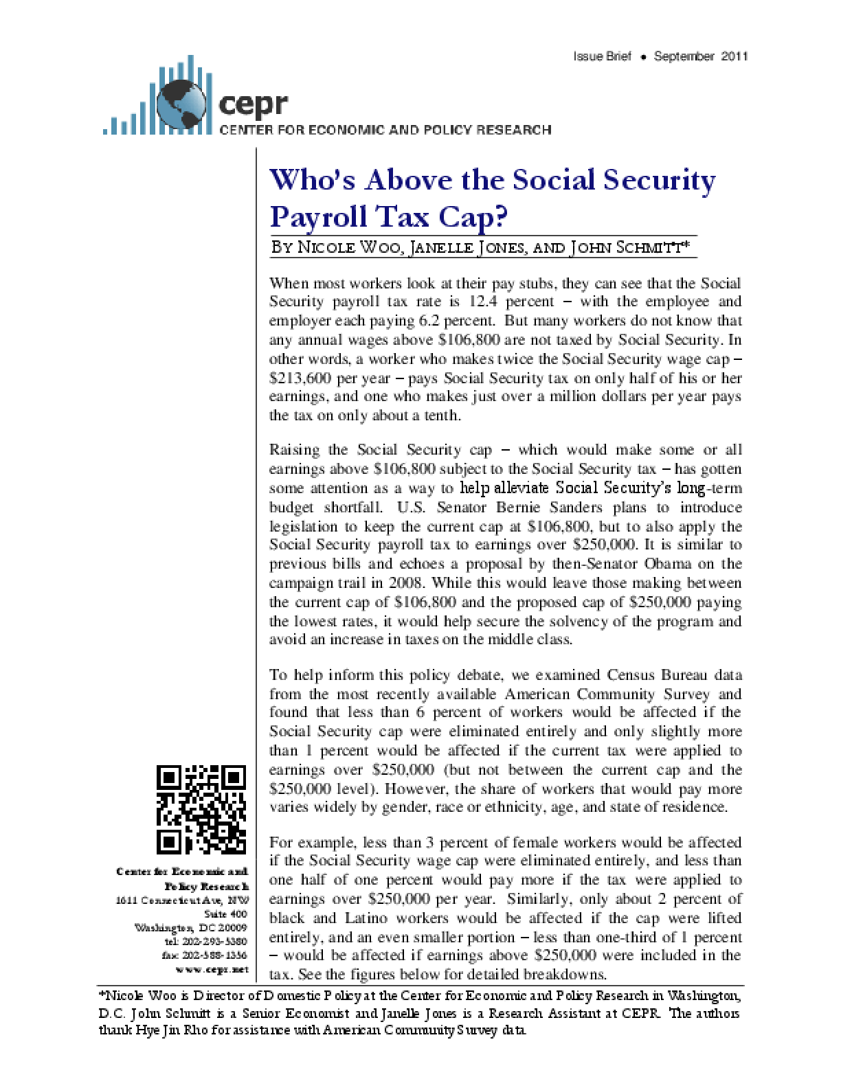 Who's Above the Social Security Payroll Tax Cap?