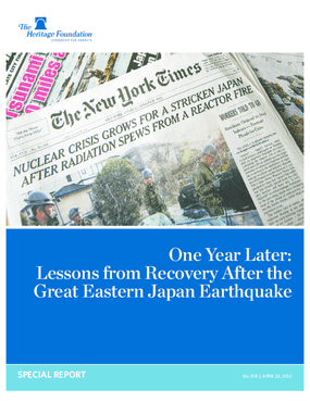 One Year Later: Lessons from Recovery After the Great Eastern Japan Earthquake