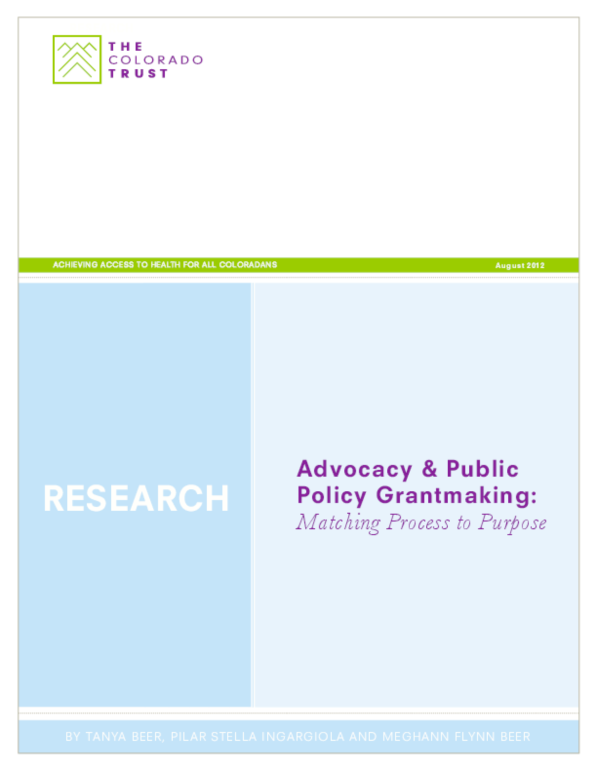 Advocacy & Public Policy Grantmaking: Matching Process to Purpose