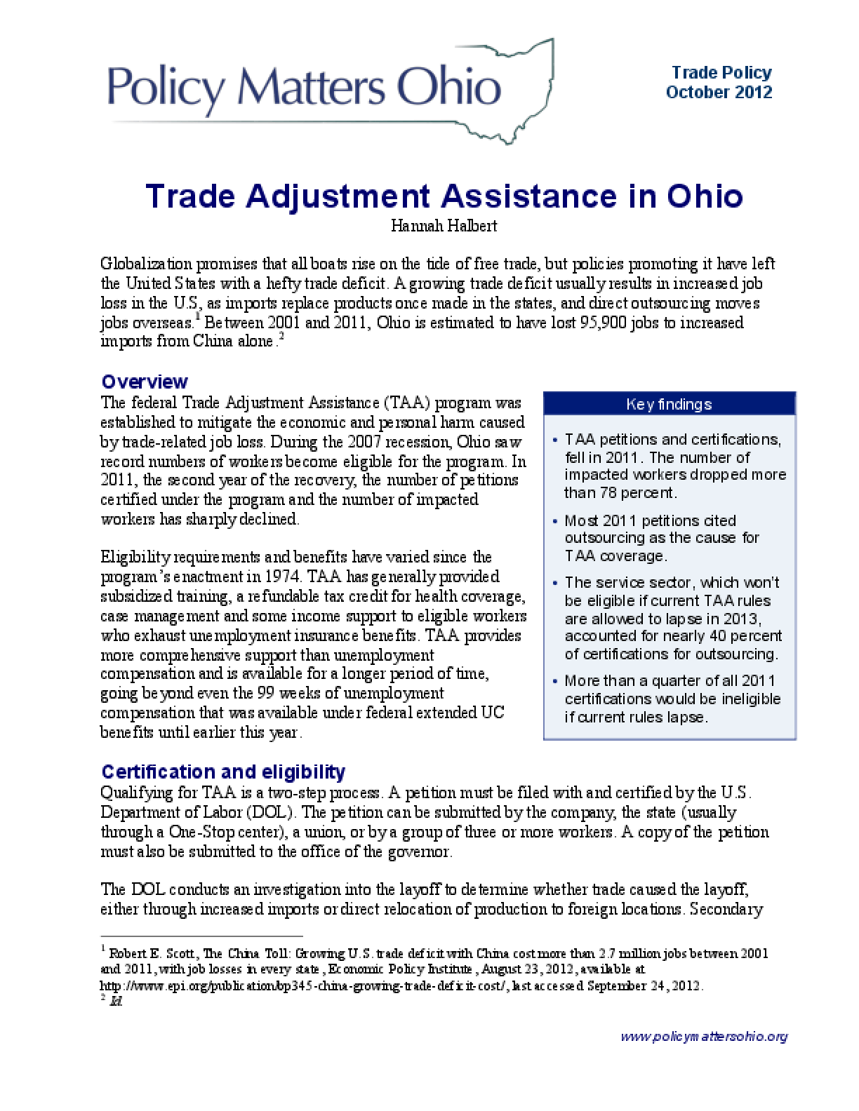 Trade Adjustment Assistance in Ohio