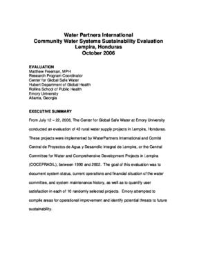 Water Partners International, Community Water Systems Sustainability Evaluation in Lempira, Honduras