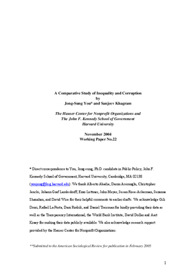 A Comparative Study of Inequality and Corruption