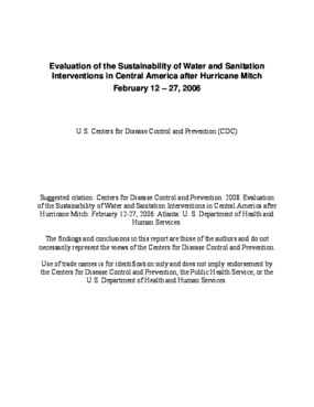 Evaluation of the Sustainability of Water and Sanitation Interventions in Central America after Hurricane Mitch
