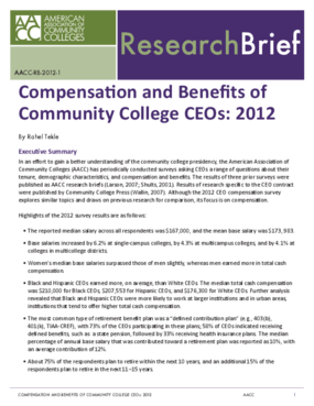 Compensation and Benefits of Community College CEOs: 2012