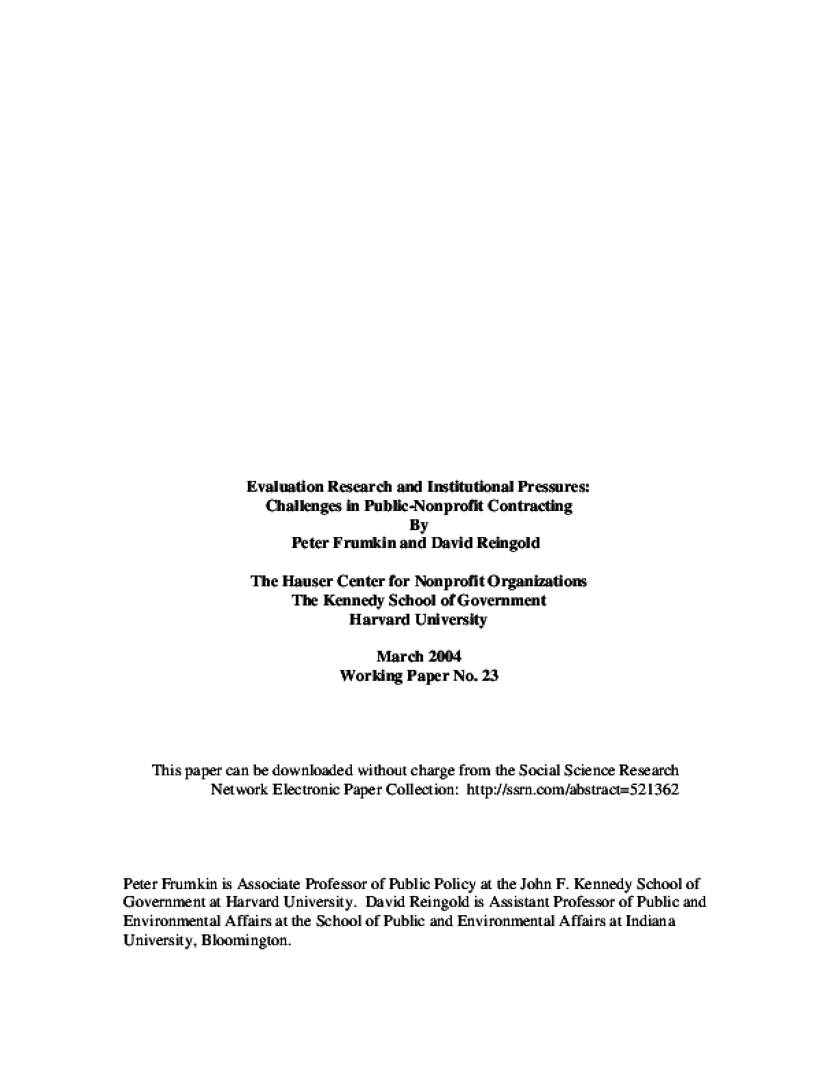 Evaluation Research and Institutional Pressures: Challenges in Public-Nonprofit Contracting