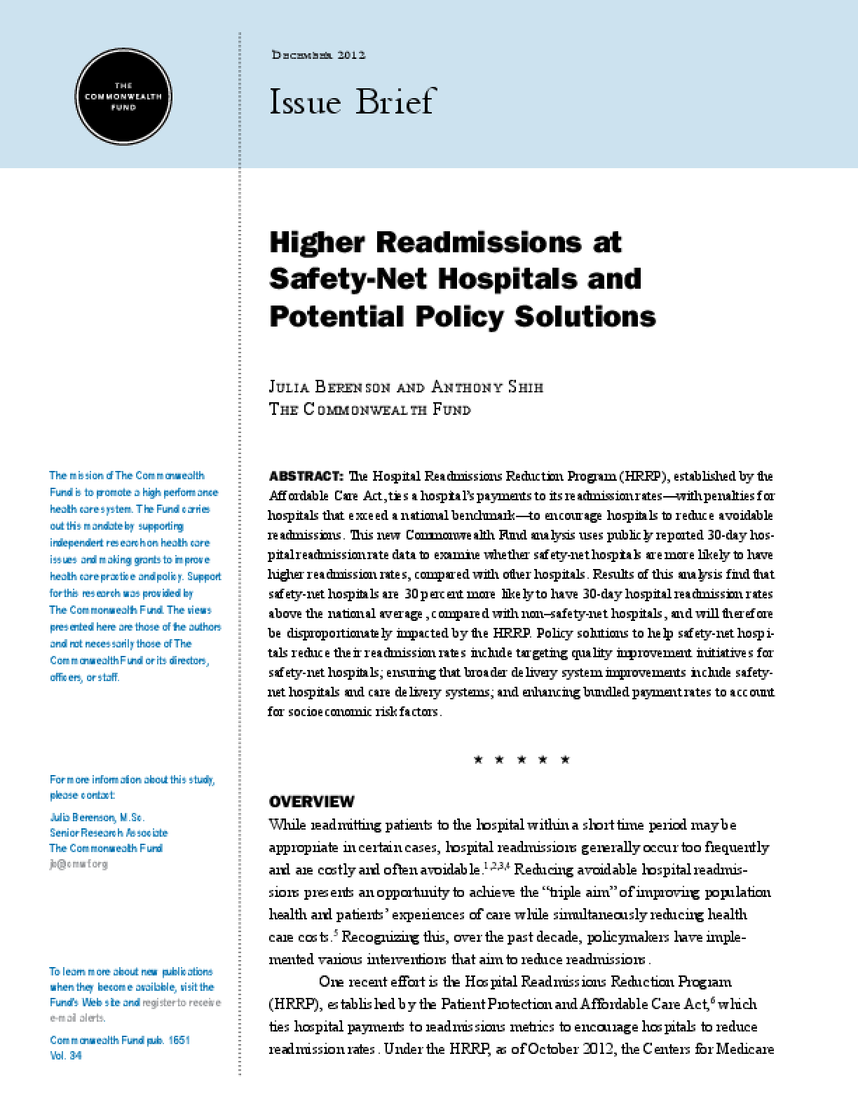 Higher Readmissions at Safety-Net Hospitals and Potential Policy Solutions