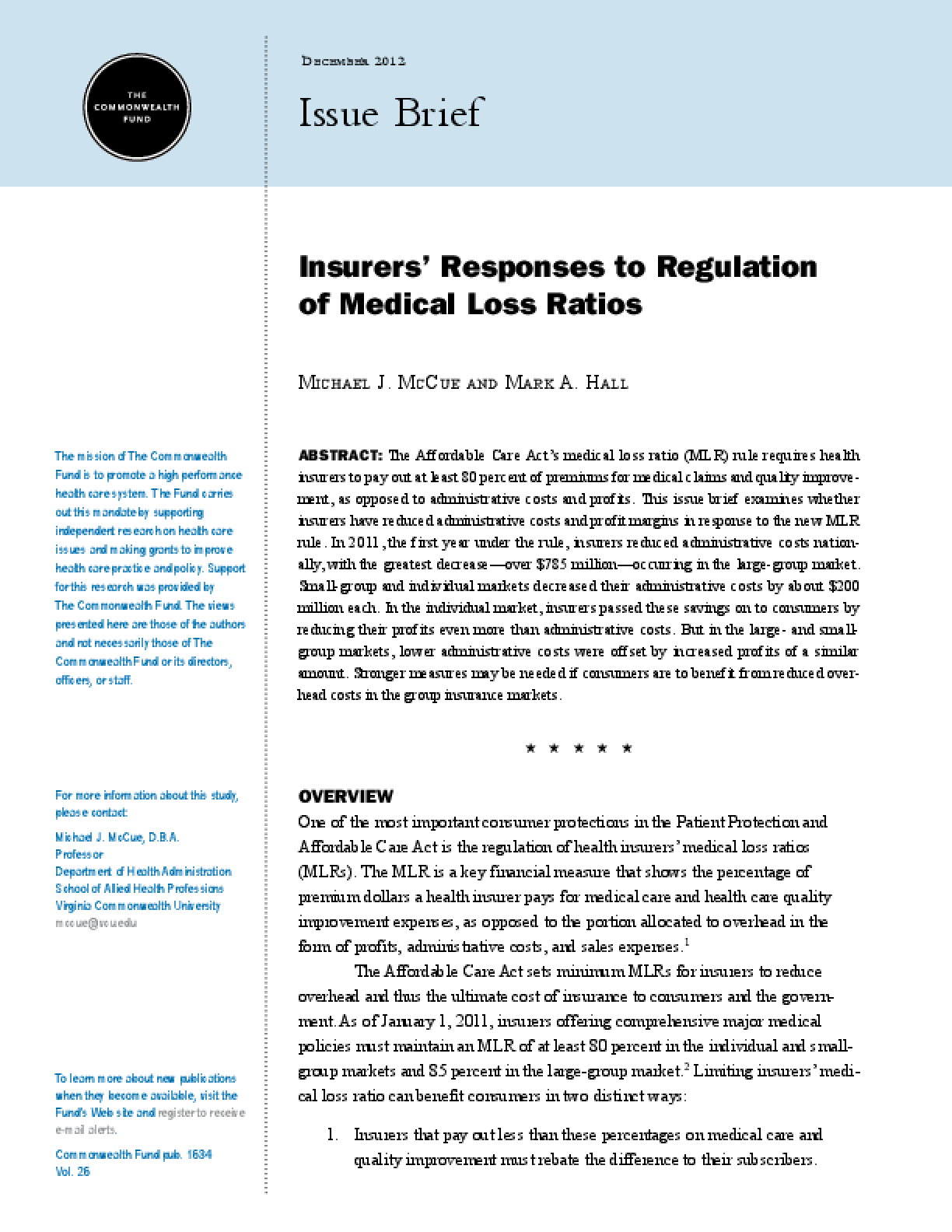 Insurers' Responses to Regulation of Medical Loss Ratios