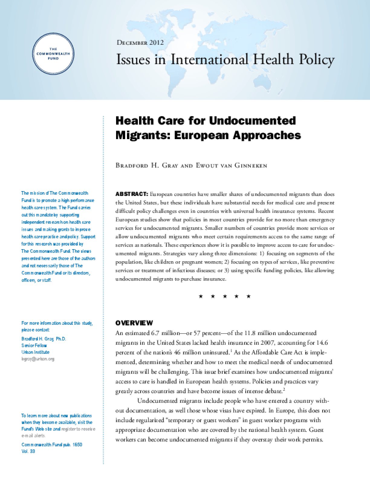 Health Care for Undocumented Migrants: European Approaches
