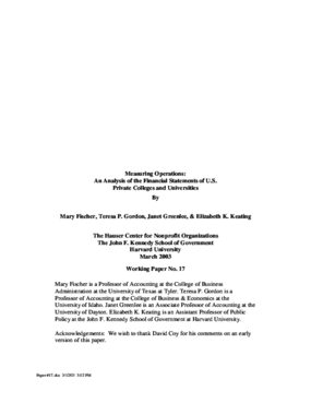 Measuring Operations: An Analysis of the Financial Statements of U.S. Private Colleges and Universities