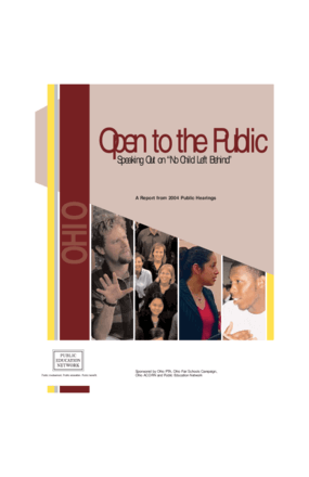 "Open to the Public: Speaking Out on ""No Child Left Behind"", A Report from 2004 Public Hearings - Ohio"