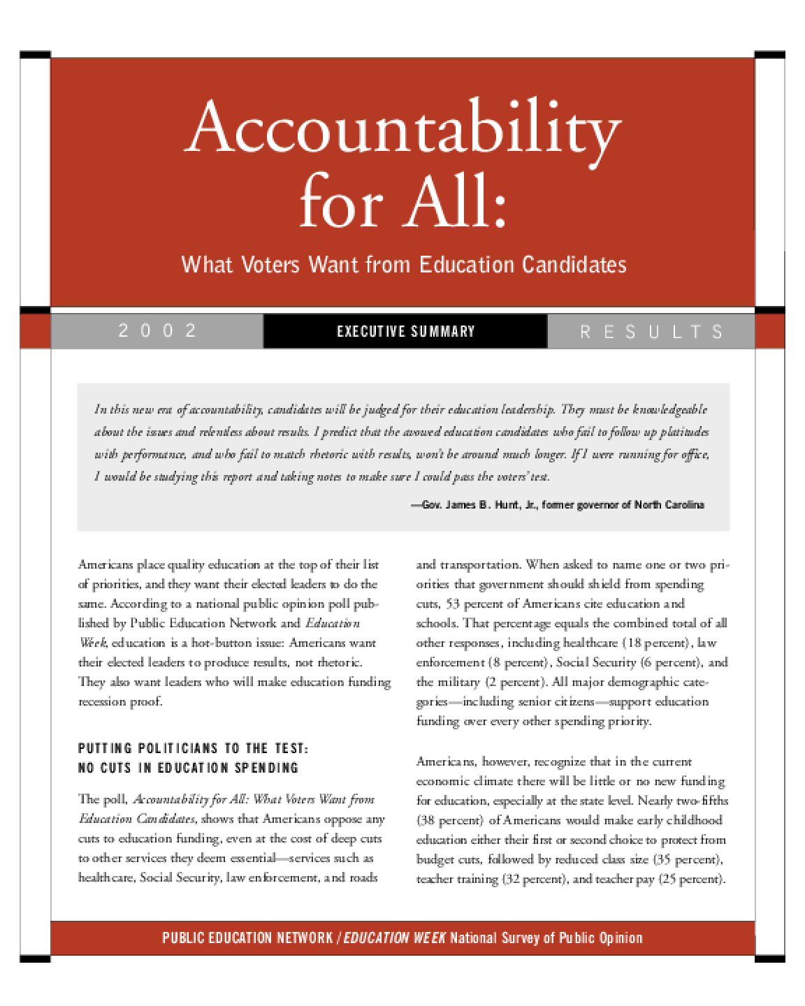 Accountability for All: What Voters Want from Education Candidates - Executive Summary, 2002 Results
