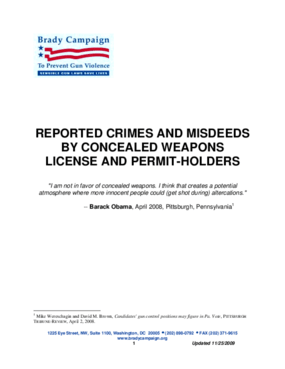 Reported Crimes and Misdeeds by Concealed Weapons License and Permit Holders