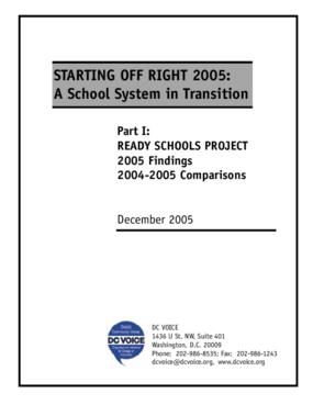 Starting Off Right 2005: A School System in Transition - Part I: Ready Schools Project - 2005 Findings, 2004-2005 Comparisons
