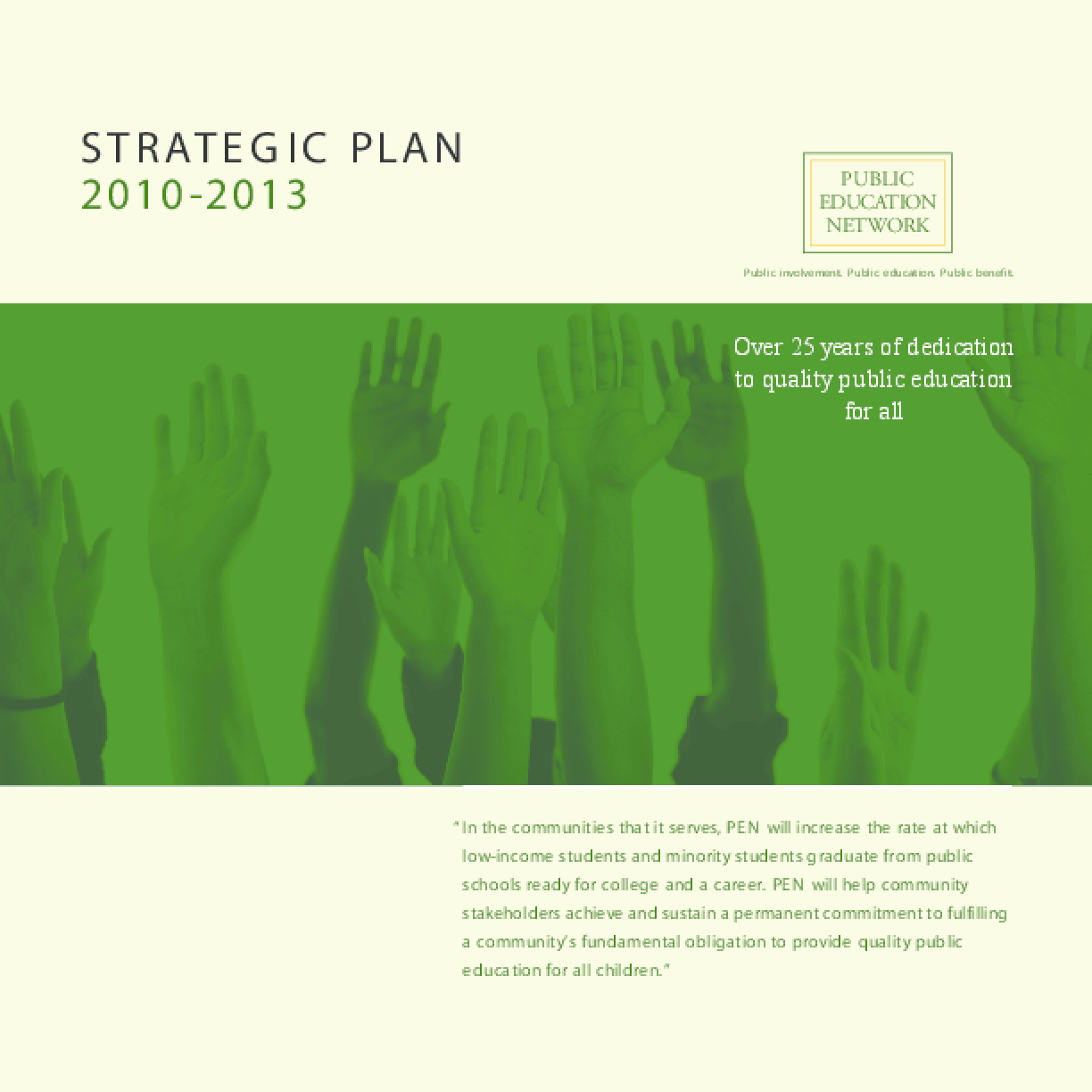 Public Education Network - Strategic Plan 2010-2013