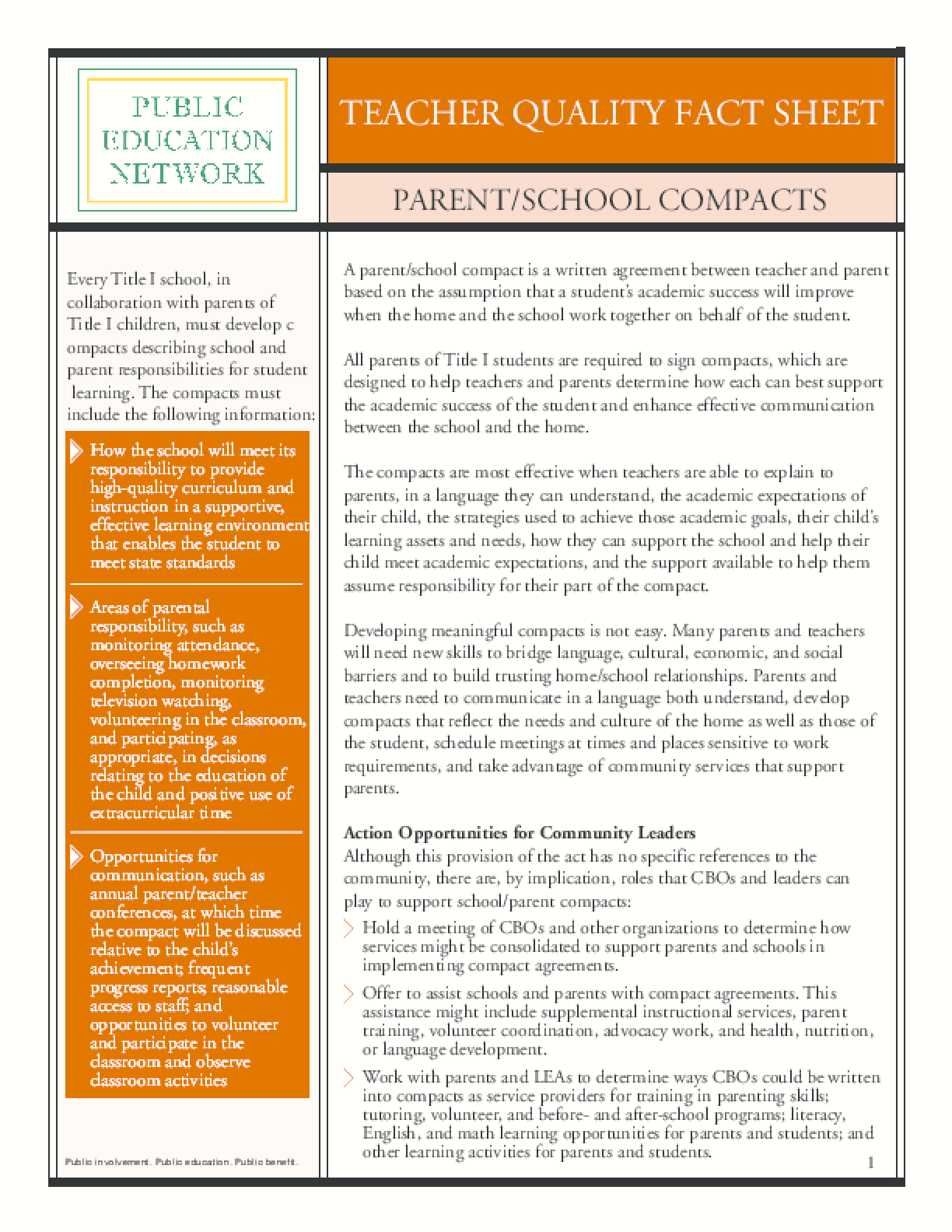 Teacher Quality Fact Sheet: Parent/School Compacts