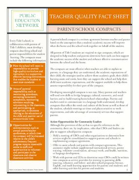 Teacher Quality Fact Sheet: Parent/School Compacts