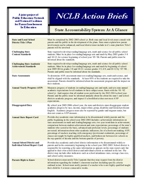 NCLB Action Brief - State Accountability System: At A Glance