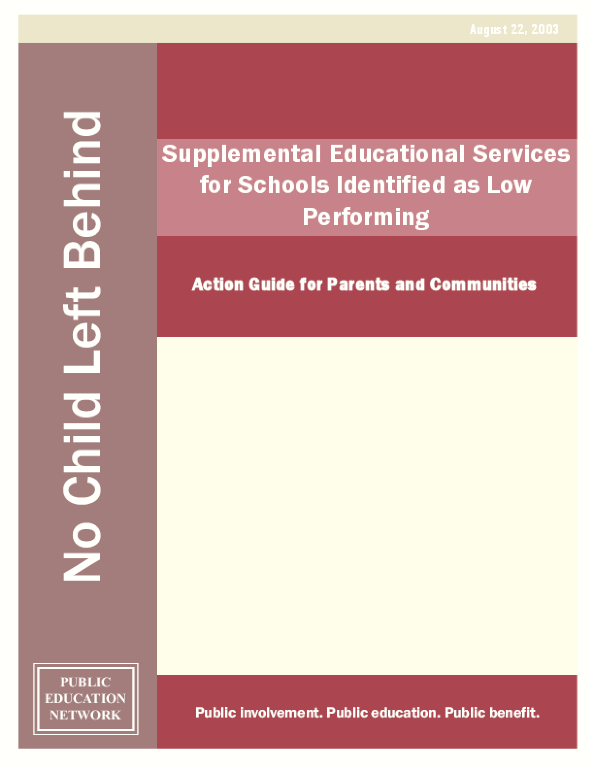 Supplemental Educational Services for Schools Identified as Low Performing: Action Guide for Parents and Communities