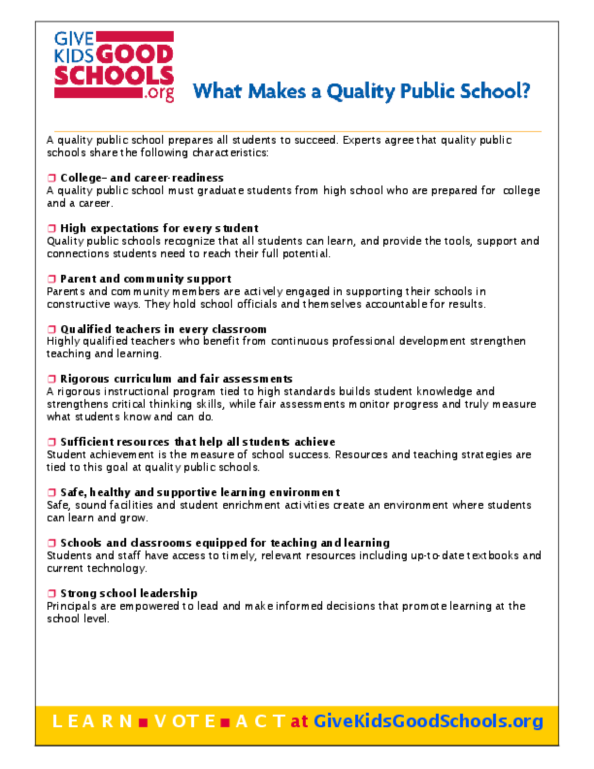 What Makes a Quality School?