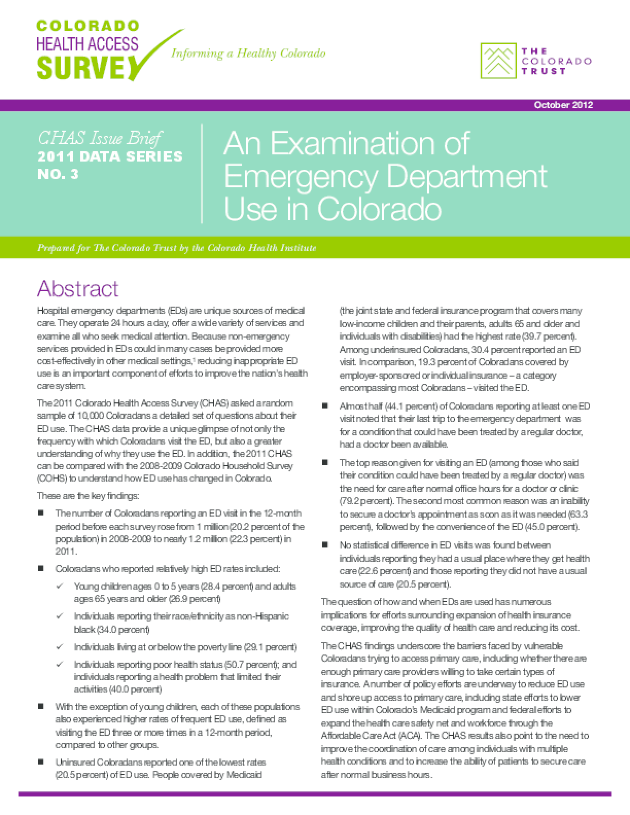 CHAS Issue Brief: An Examination of Emergency Department Use in Colorado