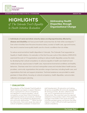 Equality in Health Highlights: Addressing Health Disparities Through Organizational Change