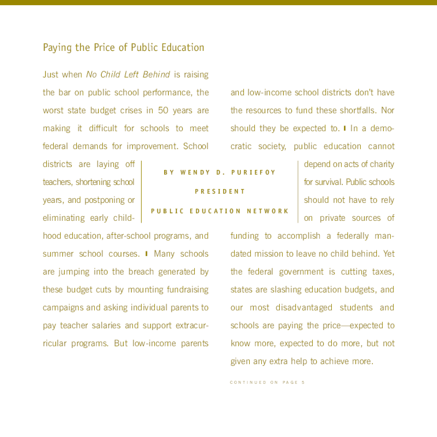 Connections: A Journal of Public Education Advocacy - Fall 2003, Vol. 10, No. 1
