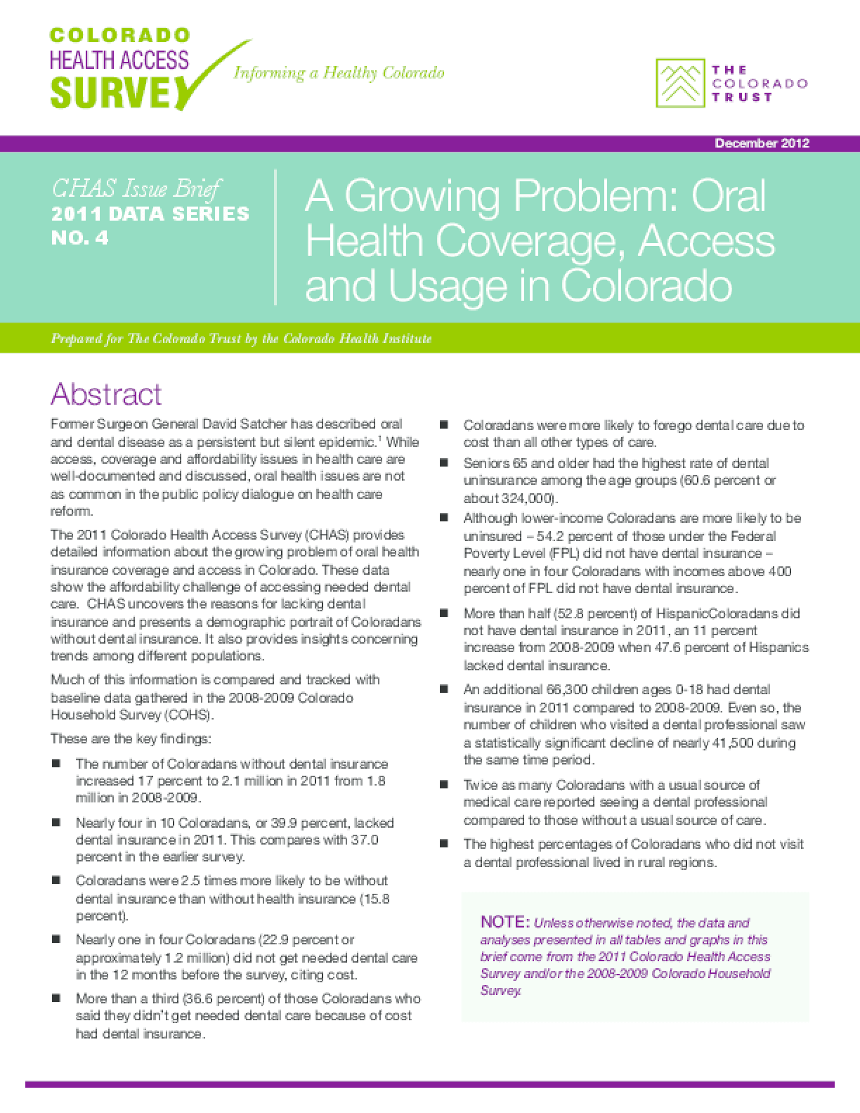 Issue Brief: A Growing Problem: Oral Health Coverage, Access and Usage in Colorado