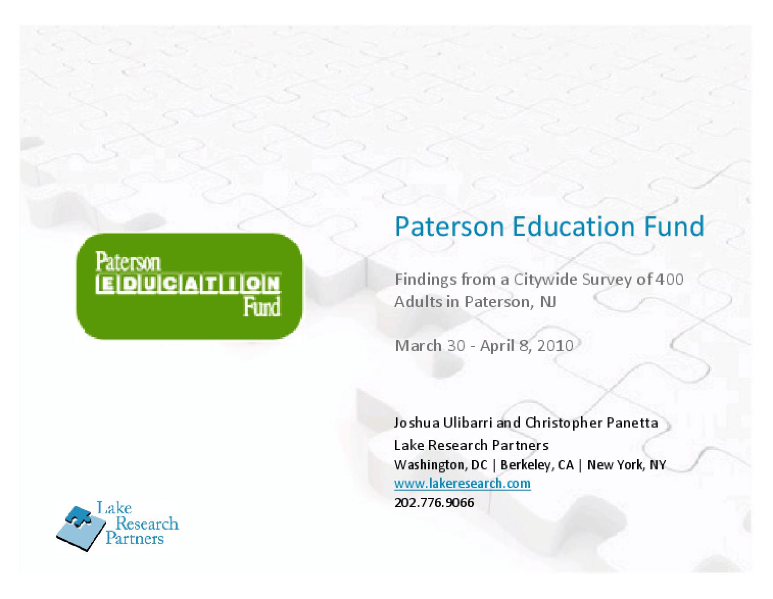 Paterson Education Fund: Findings from a Citywide Survey of 400 Adults in Paterson, NJ - 2010