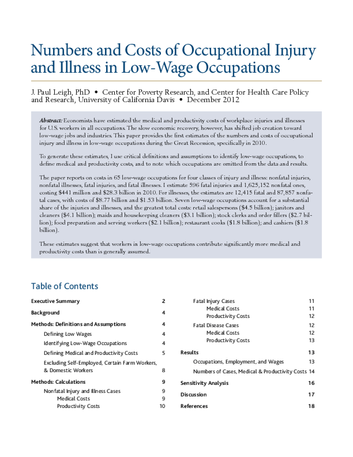 Numbers and Costs of Occupational Injury and Illness in Low-Wage Occupations