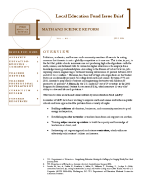 Math and Science Reform