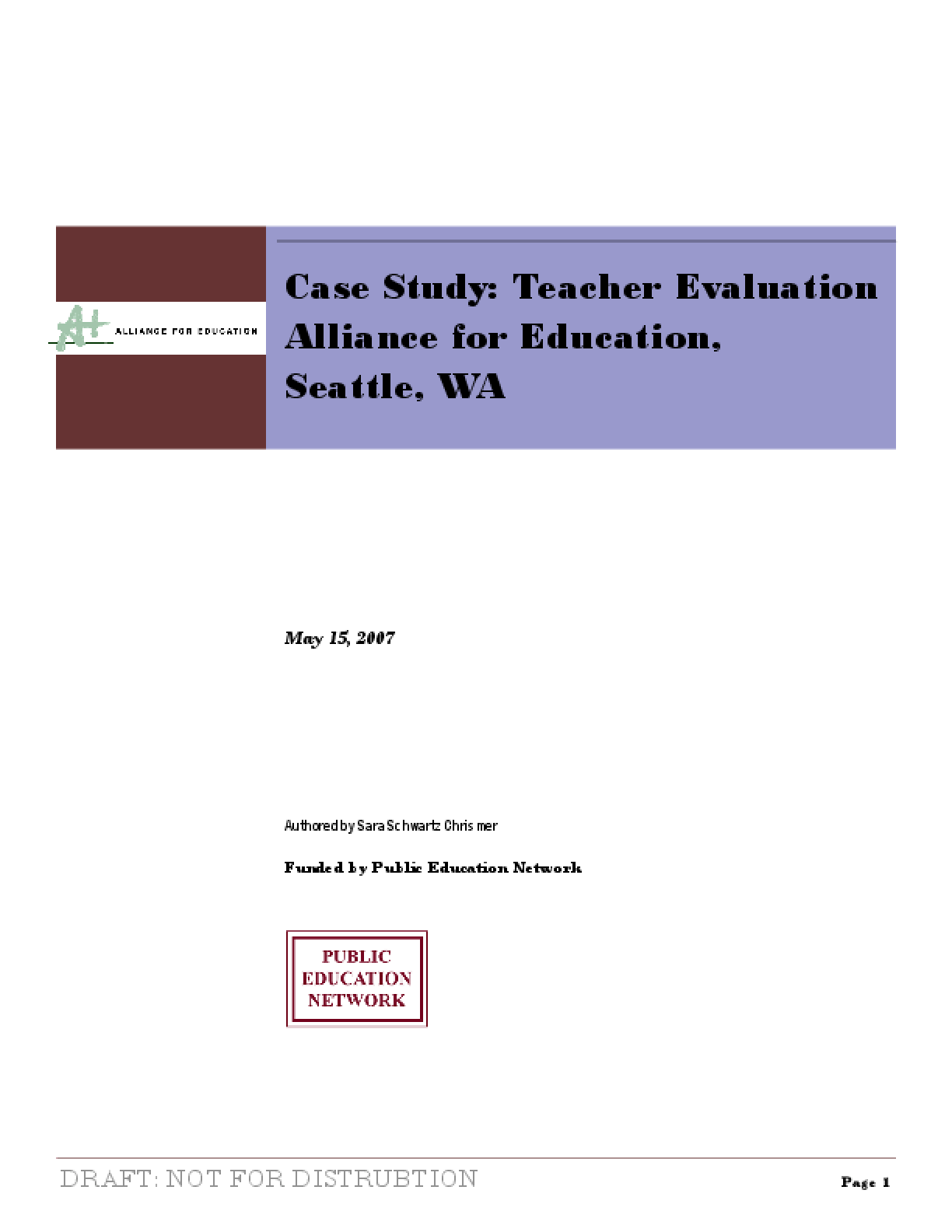 Case Study: Teacher Evaluation Alliance for Education