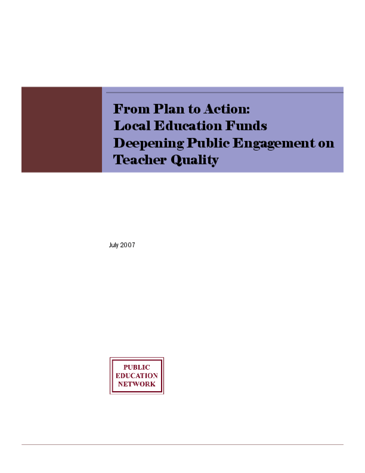 From Plan to Action: Local Education Funds Deepening Public Engagement on Teacher Quality