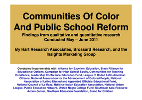 Communities of Color And Public School Reform: Findings from Qualitative and Quantitative Research