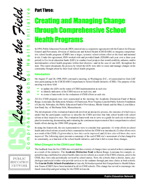 Creating and Managing Change Through Comprehensive School Health Programs