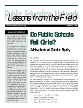 Do Public Schools Fail Girls? A New Look at Gender Equity