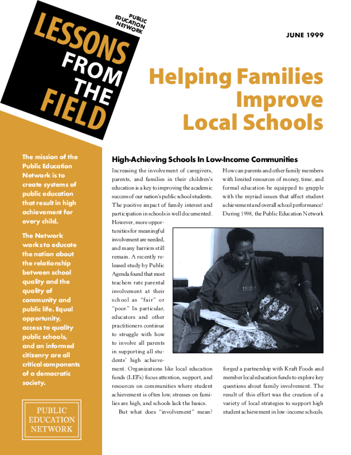 Helping Families Improve Local Schools: High-Achieving Schools in Low-Income Communities