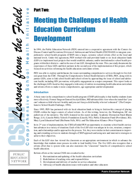 Meeting the Challenges of Health Education Curriculum Development