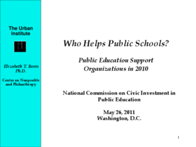 Who Helps Public Schools? Public Education Support Organizations in 2010 (Research Summary)