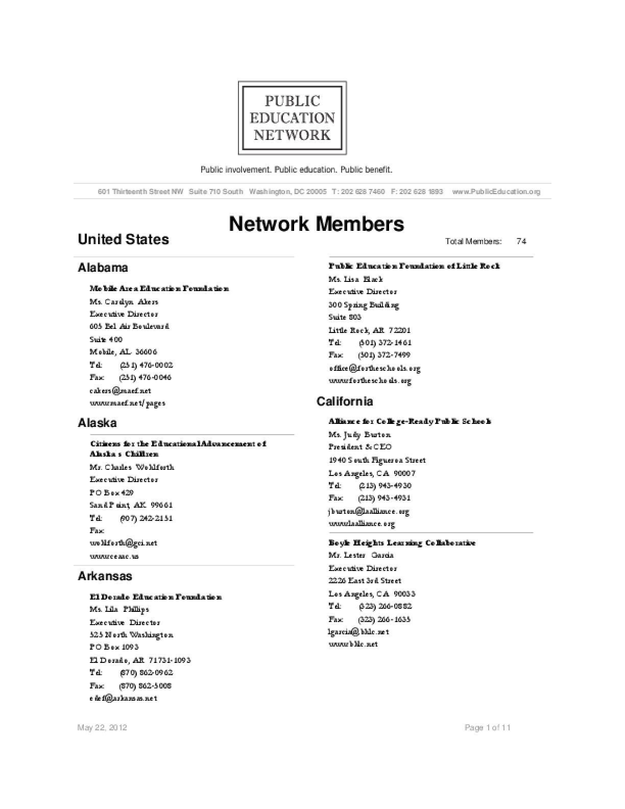 Public Education Network (PEN) Members Directory