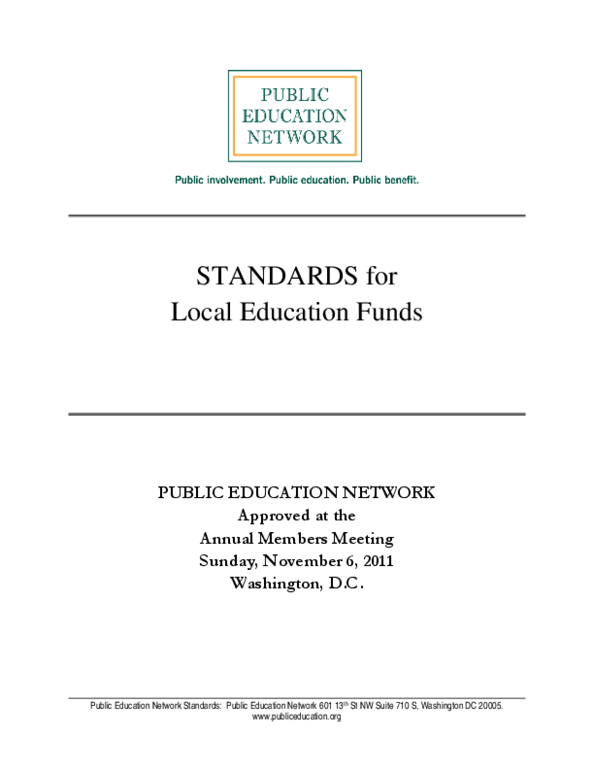 Standards for Local Education Funds (LEFs)