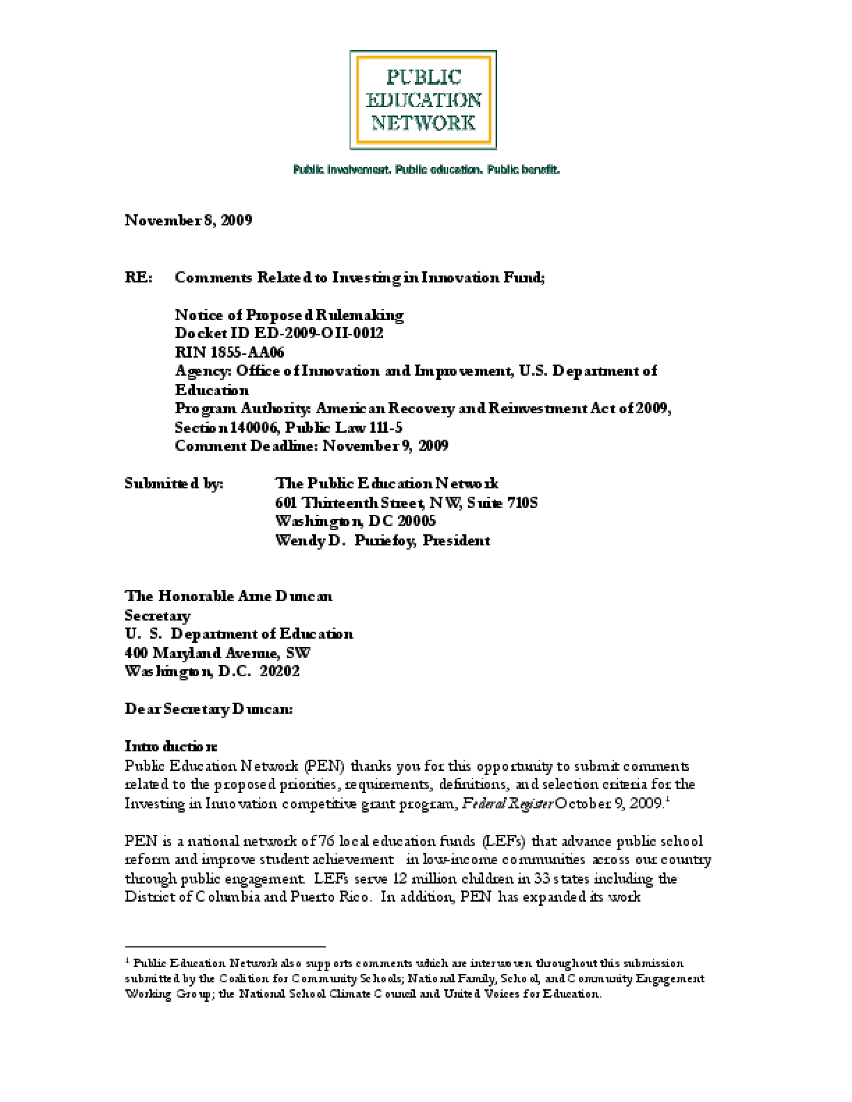 Comments Made to the Office of Innovation and Improvement, U.S. Department of Education, Related to Investing in Innovation Fund
