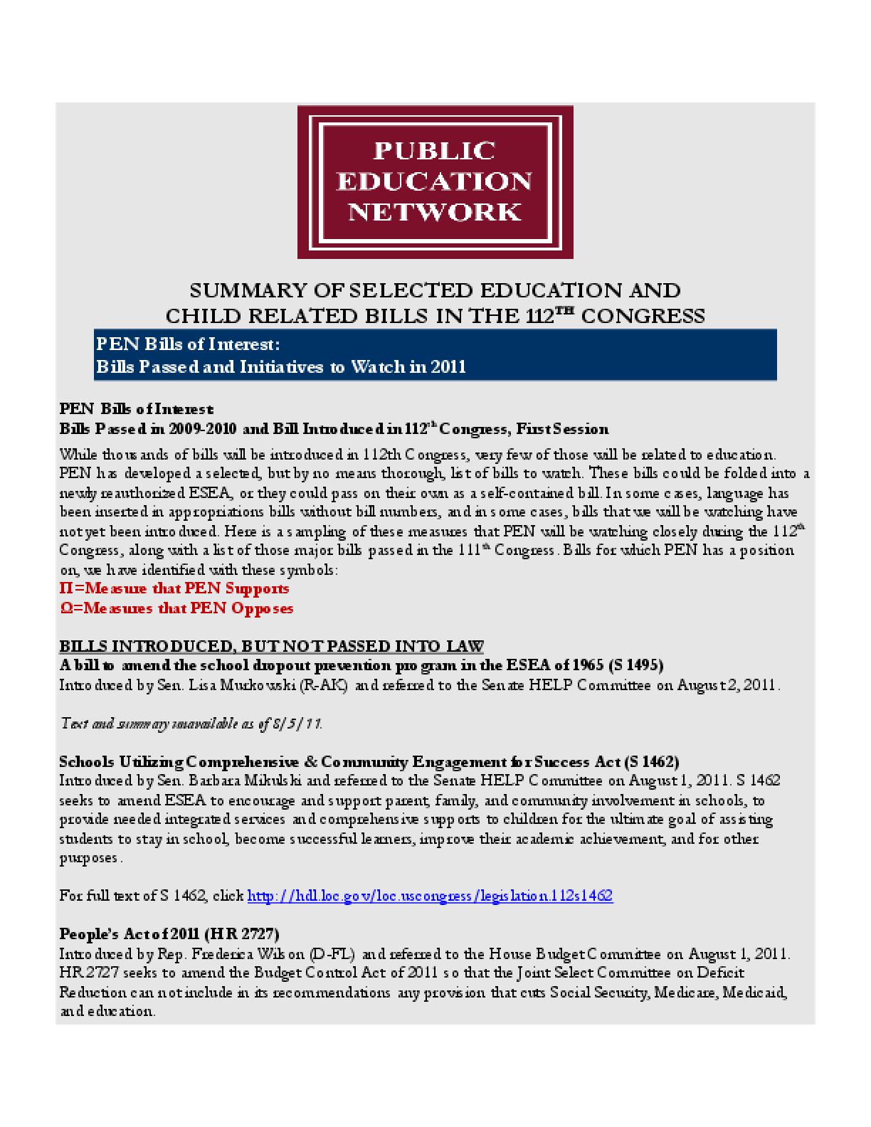 Summary of Selected Education and Child Related Bills in the 112th Congress