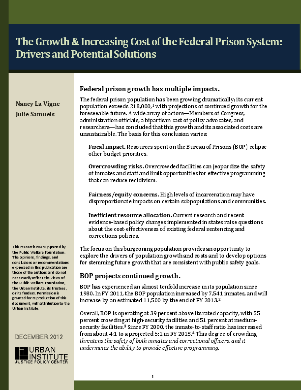The Growth & Increasing Cost of the Federal Prison System: Drivers and Potential Solutions
