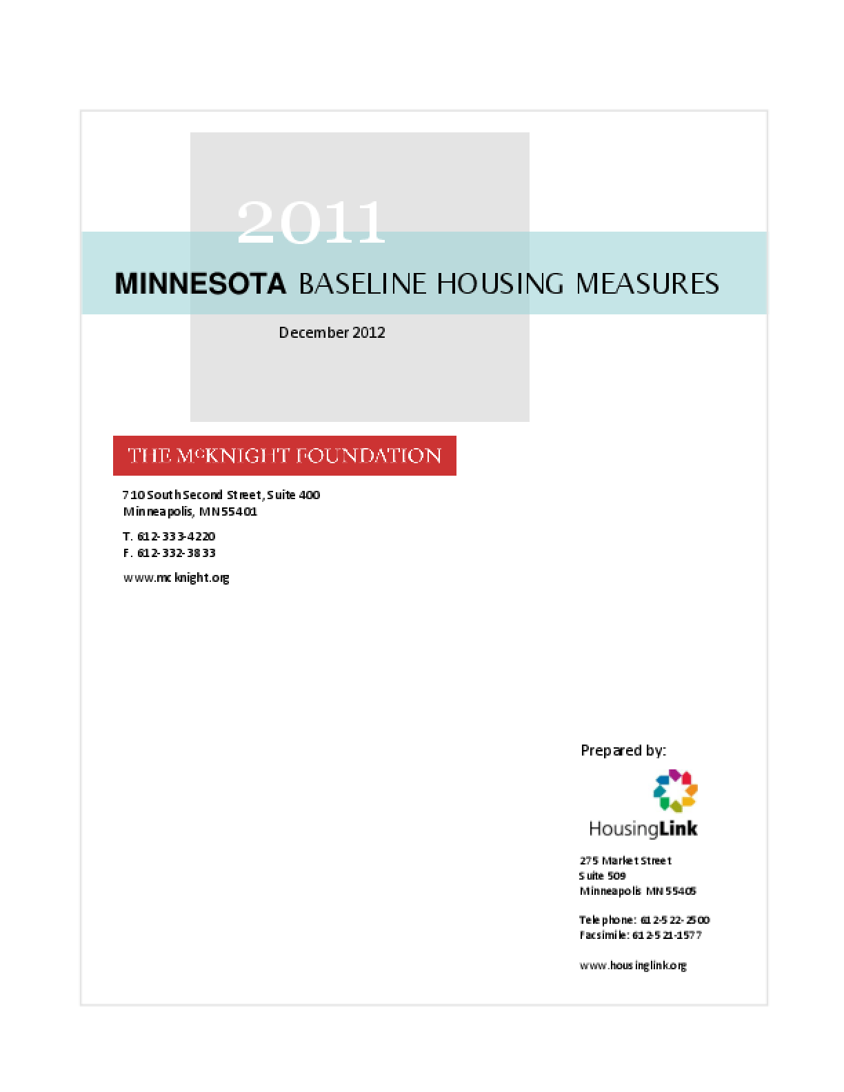 2011 Minnesota Baseline Housing Measures