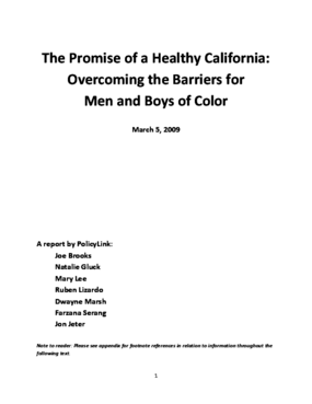 The Promise of a Healthy California: Overcoming the Barriers for Men and Boys of Color
