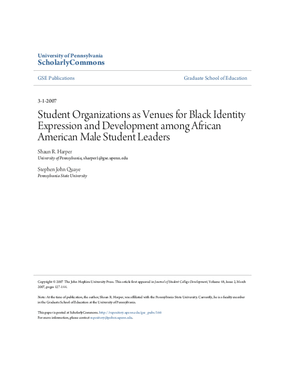 Student Organizations as Venues for Black Identity Expression and Development Among African American Male Student Leaders
