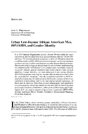 Urban Low-Income African American Men, HIV/AIDS, and Gender Identity
