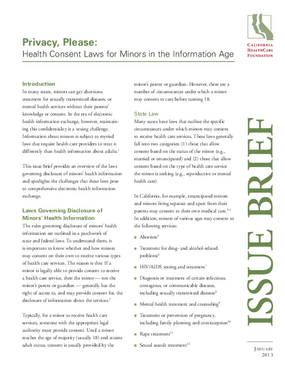 Privacy, Please: Health Consent Laws for Minors in the Information Age