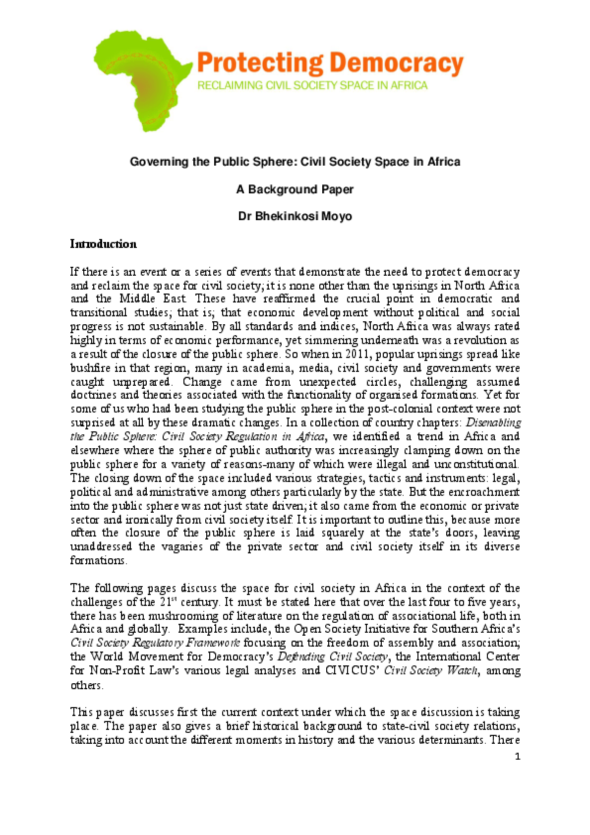 Civil Society Space in Africa